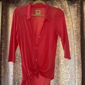 3/4 sleeve pink Hollister large  shirt. Worn once